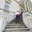 Students and teachers using staircase — Stock Video