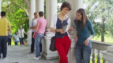 Student group on break between classes — Stock Video