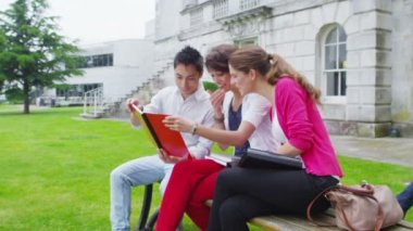 Student friends chatting together outdoors on campus — Stock Video