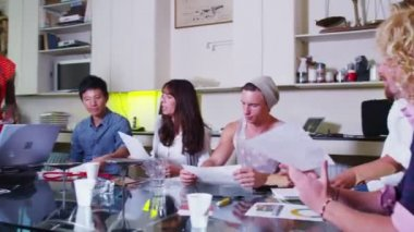 Creative design team in business meeting — Stock Video