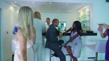 Couple flirting at bar — Stock Video