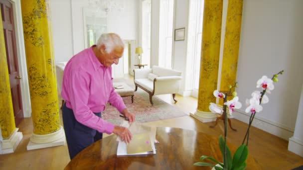 Homme senior dans l'élégante maison journal de lecture — Vidéo