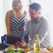 Couple with computer tablet. — Stock Video