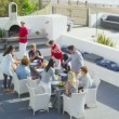 Family and friends enjoying meal outdoors — Stock Video