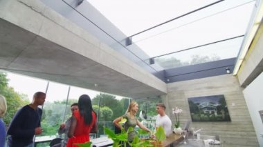 Group of people socializing  in contemporary home — Stock Video
