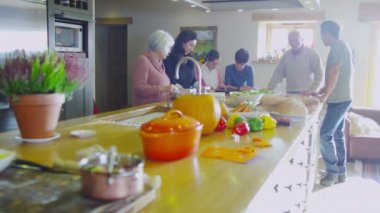 Family preparing meal together — Stock Video