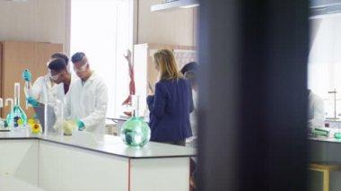Eleverna i science klass — Stockvideo