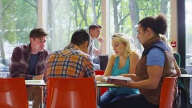 Student together in cafe area of college — Stock Video