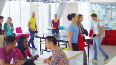 Student group in cafe area — Stock Video