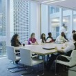 Business team in boardroom meeting in a large modern office building — Stock Video #44817961