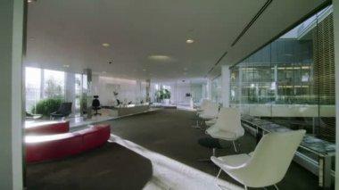 Empty break out area in modern office — Stock Video