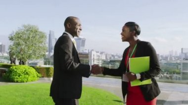 Businessman and businesswoman meet and shake hand — Stock Video