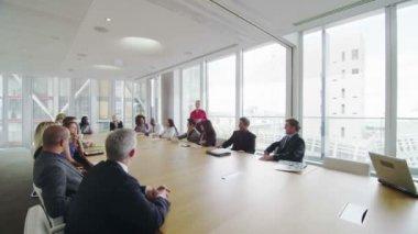 Business team in boardroom meeting — Stock Video