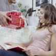 Young woman is given gifts by her partner — Stock Video #45154383