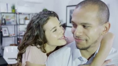 Couple embrace and look into camera — Stock Video