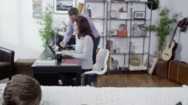 Modern family using technology together — Stock Video