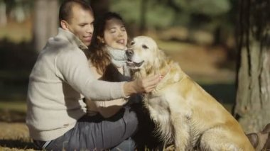 Couple with their pet dog — Stock Video