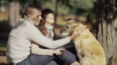 Couple spending time outdoors with dog — Stock Video #45279349