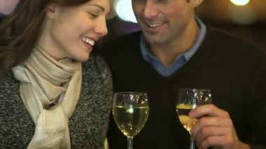Couple in love drinking wine — Stock Video