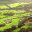 Aerial view over a golf course set in the English countryside — Stock Video #45476707