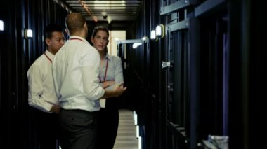 Team of people working at data centre — Stock Video