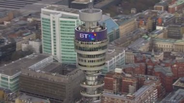 Aerial view of the B T Tower in London — Stock Video