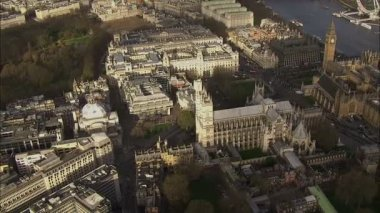Aerial view above the London city of Westminster — Stock Video