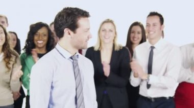 一群快乐多样的业务人 — 图库视频影像