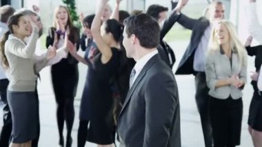 Business team celebrate successful — Stock Video
