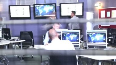 Security personnel watching the screens — Stock Video