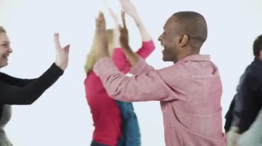 Multi ethnic people in coloured clothing — Stock Video