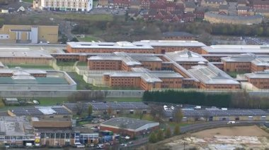 Wide aerial view of HM Prison Holloway — Stock Video