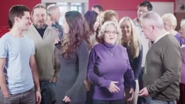 Portrait of cheerful group of people mixed age and race — Stockvideo