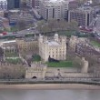 Aerial view of the infamous Tower of London beside the river Thames — Stock Video #45483187