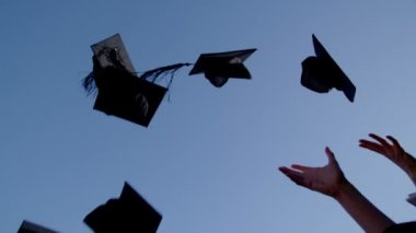 Graduation caps are tossed into air — Stock Video