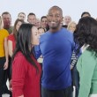 Multi ethnic people are standing together — Stock Video