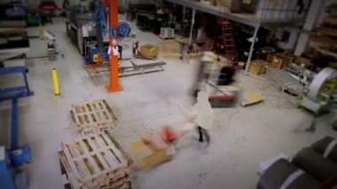 Busy warehouse or factory workers — Stock Video