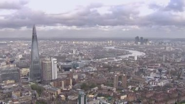 Panoramic aerial view above the city of London and the river Thames — 图库视频影像