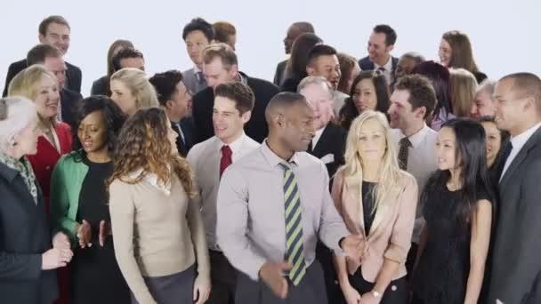 Feliz, diverso grupo de gente de negocios — Vídeo de stock
