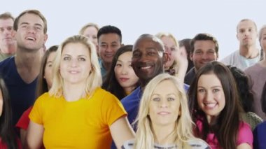 Happy multi ethnic group of people — Stock video