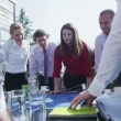 Business group come for an outdoor meeting — Stock Video #45617367