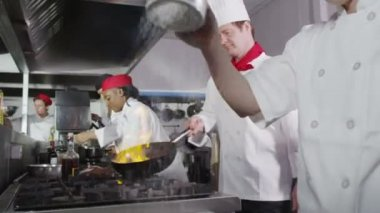 Team of professional chefs preparing and cooking food in a commercial kitchen. — Stock Video