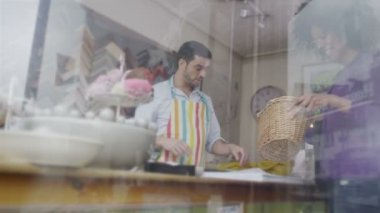 Shopkeeper is at work — Stock Video
