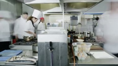 Team of professional chefs preparing food in commercial kitchen — Stock Video