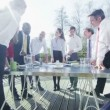 Business group come for an outdoor meeting — Stock Video #45621327