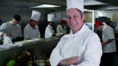 Portrait of smiling head chef and his staff in a commercial kitchen — Wideo stockowe
