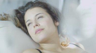 Brunette model in black lingerie — Stock Video