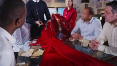 Team of fashion designers or retailers in a business meeting — Stock Video