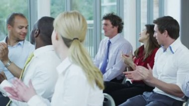 Business people at business seminar — Stock Video