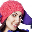 Portrait of happy woman in winter hat — Stock Photo